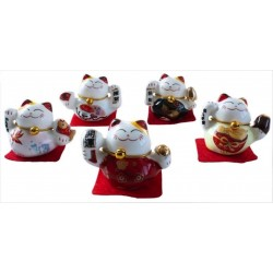 Ensemble de 5 Chats Maneki Neko en porcelaine