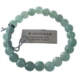 Bracelet Aventurine Verte Perles rondes facettées