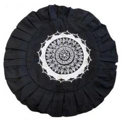 Housse de Zafu Noire Broderie Mandala Blanche