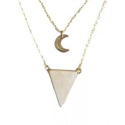 Collier Quartz Rose Triangle et Lune Chaîne dorée