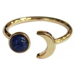 Bague Sodalite Perle 6 mm et Lune Métal doré Ajustable