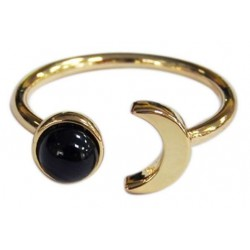 Bague Onyx Noir Perle 6 mm et Lune Métal doré Ajustable