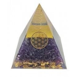 Pyramide Orgonite Améthyste Fleur de vie