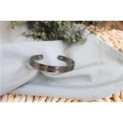 Bracelet cuivre avec Aimants Jonc finition métal argenté