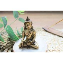 Statuette Bouddha Bhumisparsha Mudra en Laiton doré mat 7,5 cm