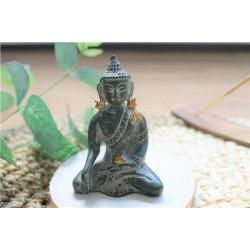 Statuette Bouddha Bhumisparsha Mudra en Laiton vert antique 7,5 cm