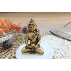 Statuette Bouddha Dhyana Mudra en Laiton doré mat 7,5 cm
