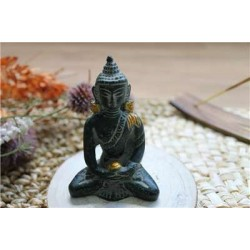 Statuette Bouddha Dhyana Mudra en Laiton vert antique 7,5 cm