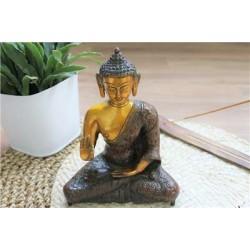 Statuette Bouddha Abhaya Mudra en Laiton orange antique 20 cm