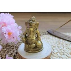 Statuette Ganesh assis en Laiton doré mat 8.2 cm