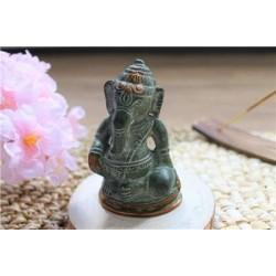 Statuette Ganesh assis en Laiton vert antique 8.2 cm