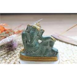 Statuette Ganesh allongé en Laiton vert antique 8 cm