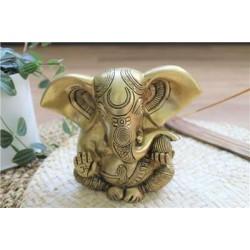 Statuette Ganesh assis en Laiton doré mat 14 cm