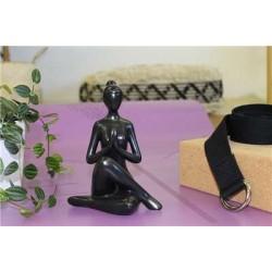 Statuette en Porcelaine Posture du Gardien Noir mat 17 cm