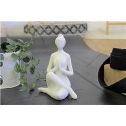 Statuette en Porcelaine Posture du Gardien Blanc brillant 17 cm