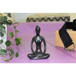 Statuette en Porcelaine Posture du Lotus Dhyana Mudra Noir mat 10 cm